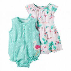 Baby Girl Flamingo Dress & Sunsuit Set Outfit